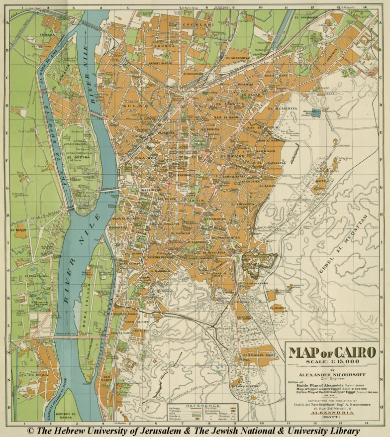 Map of Cairo, after 1933, Alexander Nicohosoff