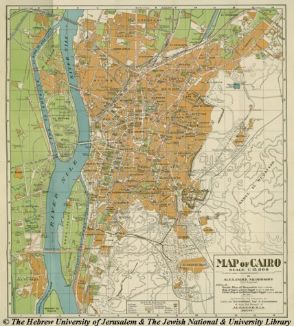 Map of Cairo, after 1933, Alexander Nicohosoff Cairo Il Map on
