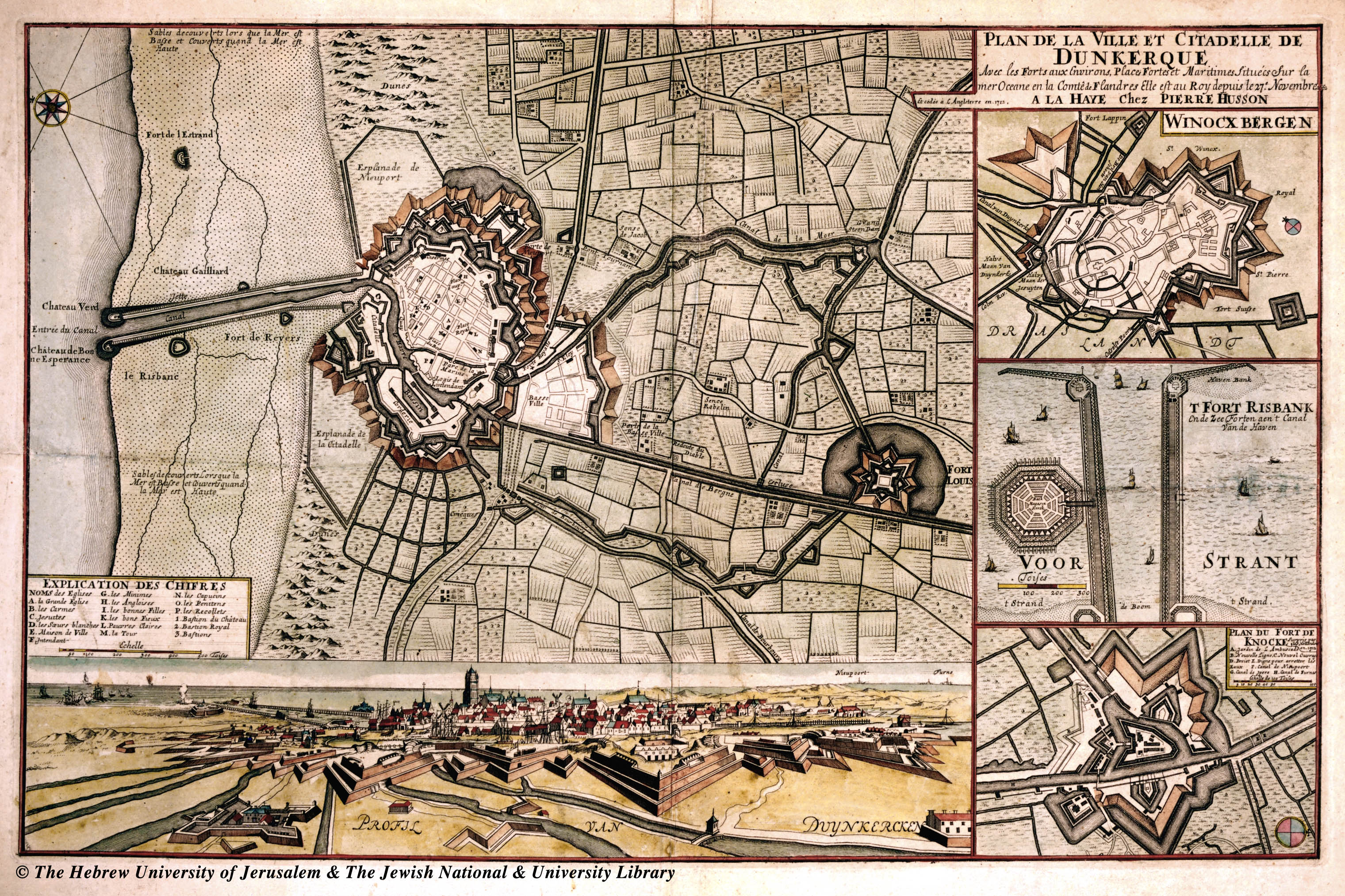 map of dunkerque 1712 pierre husson. Black Bedroom Furniture Sets. Home Design Ideas