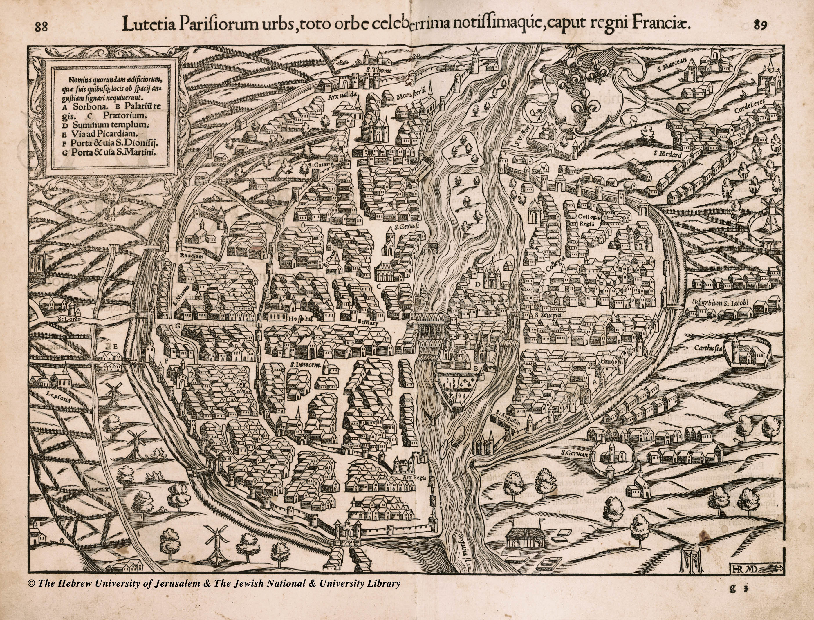 16th century black and white map of Paris, France