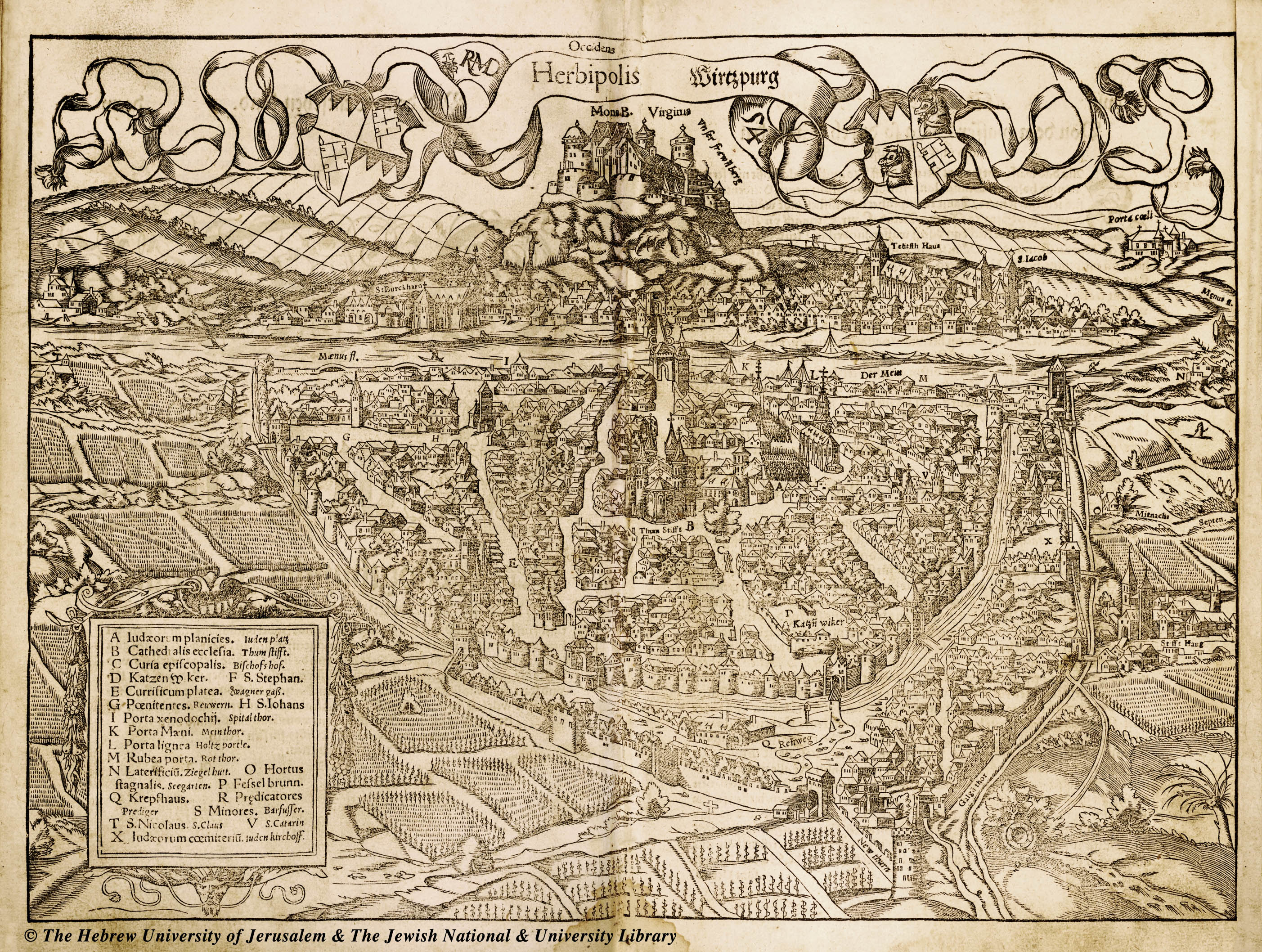 Map of Wurzburg 1550 Sebastian Munster