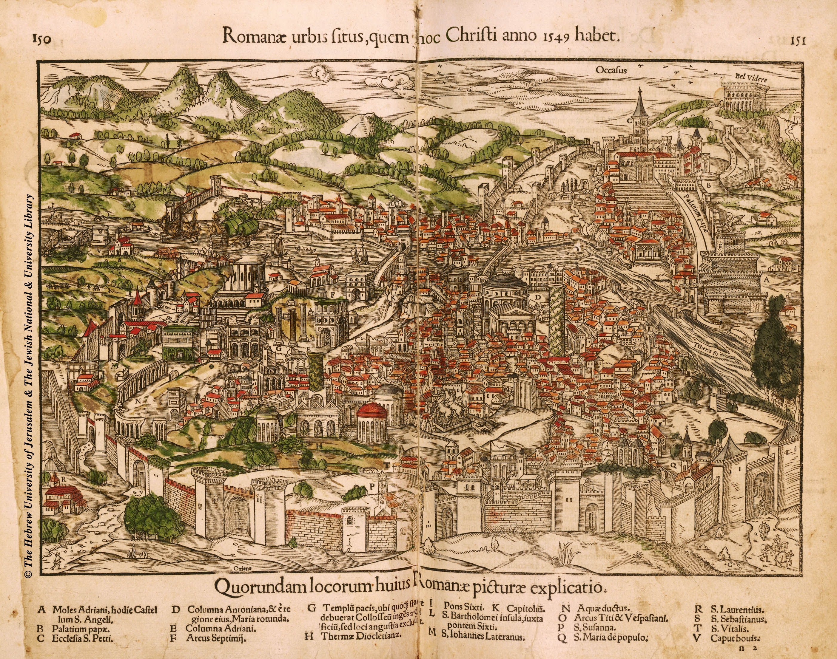 Historic Map of Rome: 1550