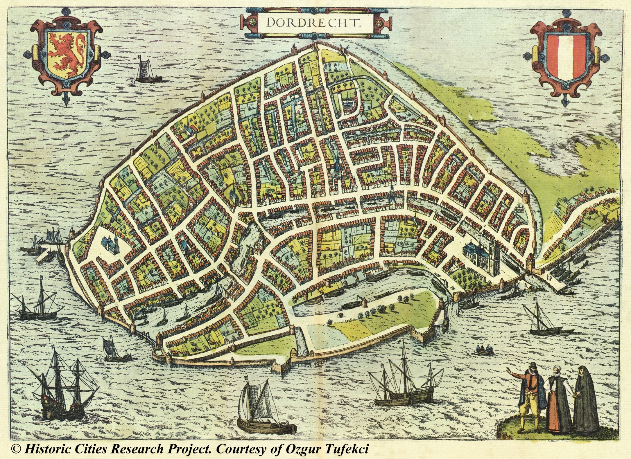 Map of Dordrecht 1581 Braun and Hogenberg